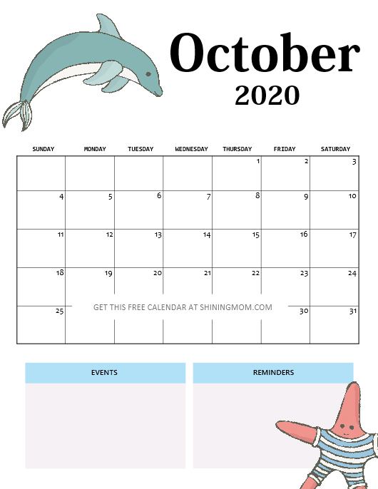 School Calendar October 2020 Kids