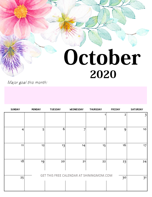 Calendar October 2020 pdf
