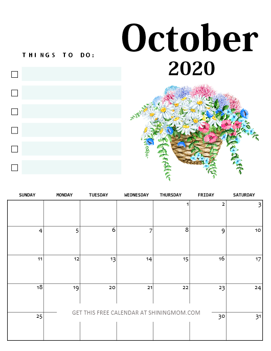 October calendar 2020 with notes