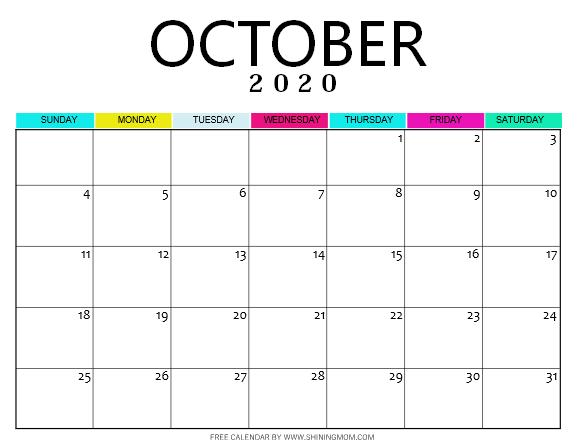October 2020 calendar pdf