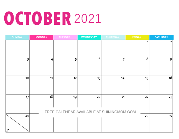 October calendar 2021 monthly