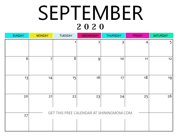 Free Printable September 2020 Calendar 12 Pretty Styles