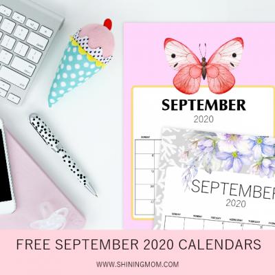 FREE Printable September 2020 Calendar: 12 Pretty Styles!