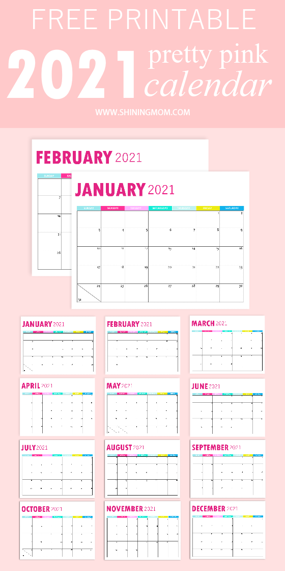 2021 monthly calendar printable free