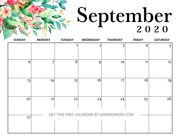 25+ Monthly Calendar Print Free Calendar September 2020 Background