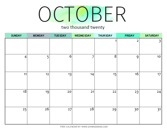 October 2020 calendar free printable in PDF