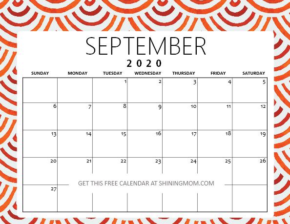 September 2020 calendar pdf downloadable