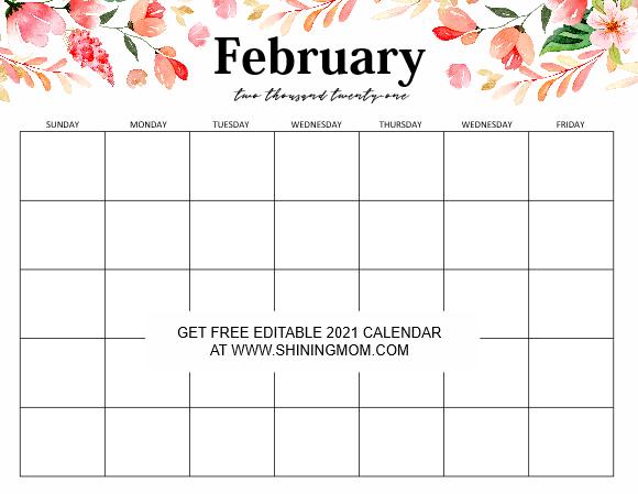 FREE Fully Editable 2021 Calendar Template in Word
