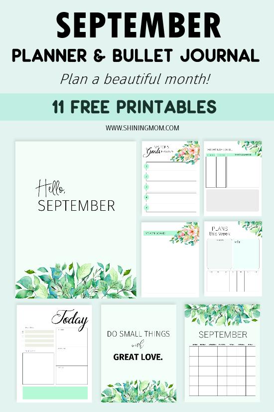 September Planner free printable