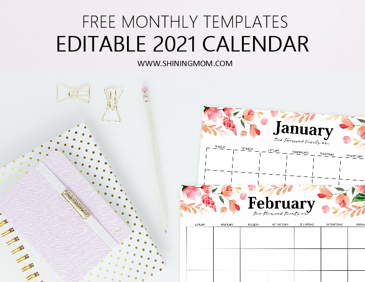 editable 2021 calendar template in Microsoft Word