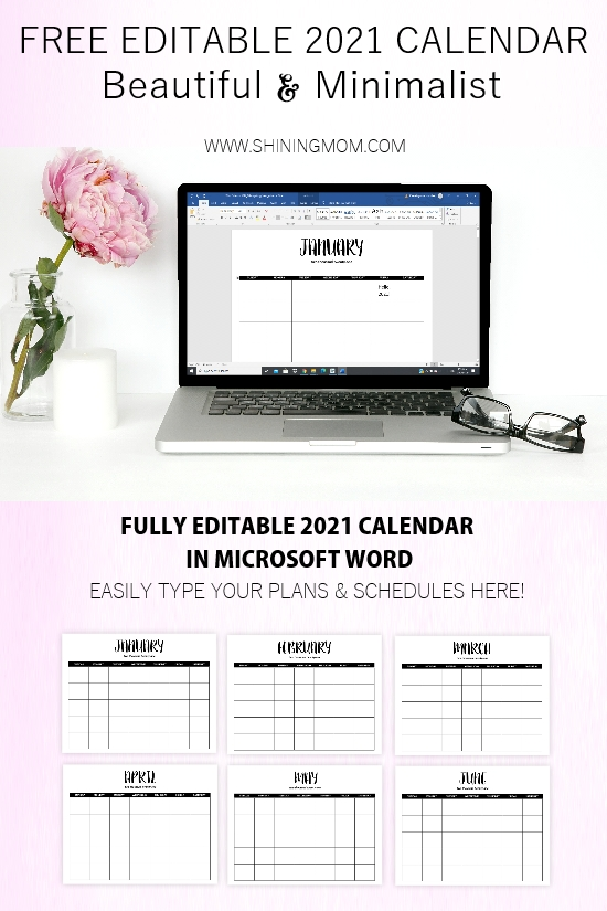 editable calendar 2021 free template