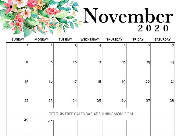 free printable November 2020 calendar pdf