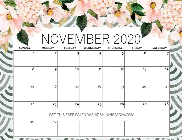 November 2020 calendar free printable