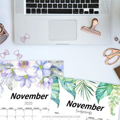 FREE Printable November 2020 Calendar: 12 Awesome Designs!