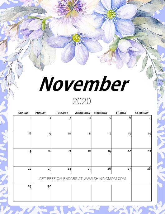 calendar November 2020 beautiful