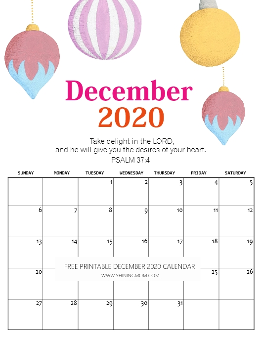 FREE Printable December 2020 Calendar: 16 Beautiful Designs!