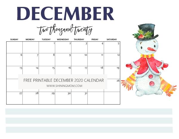 FREE Printable December 2020 Calendar: 16 Beautiful Designs!