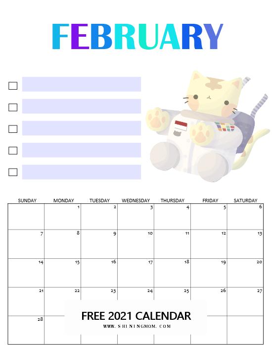 February school calendar 2021