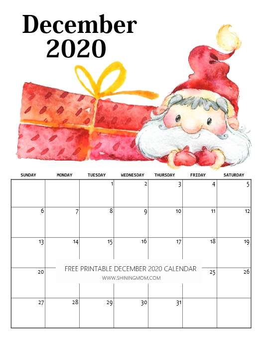 December Christmas 2020 Calendar FREE Printable December 2020 Calendar: 16 Beautiful Designs!