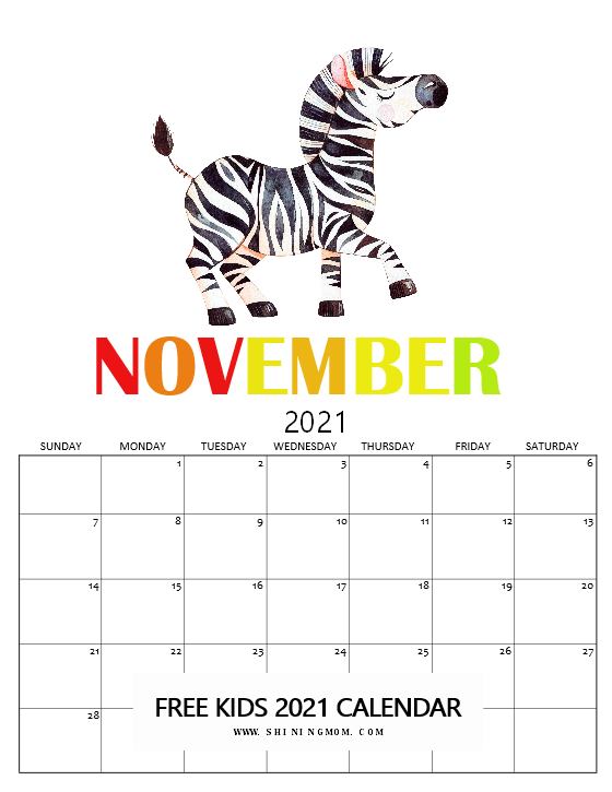 cute November 2021 calendar for kids