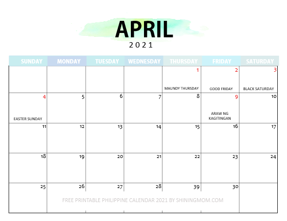 Philippine calendar April 2021 with holidays