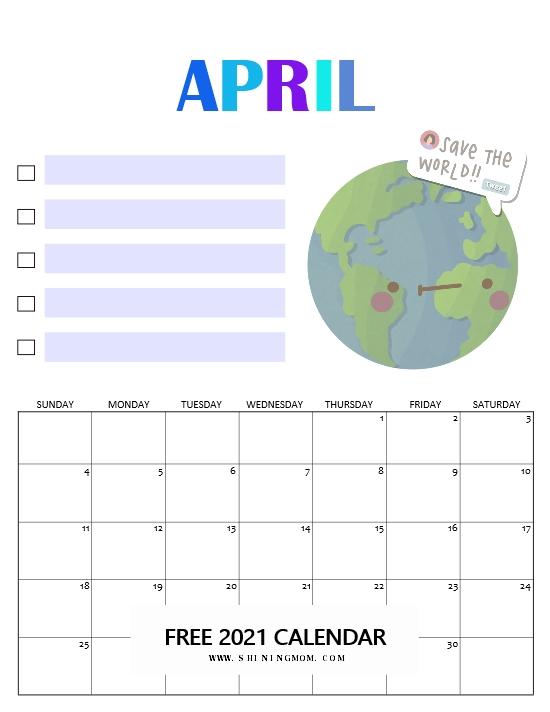 April calendar 2021 free printable