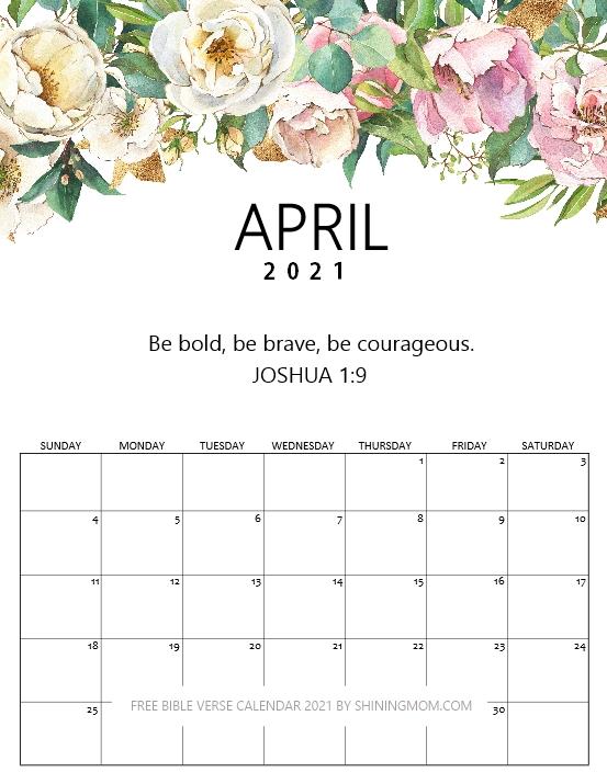 April 2021 calendar with Bible verse