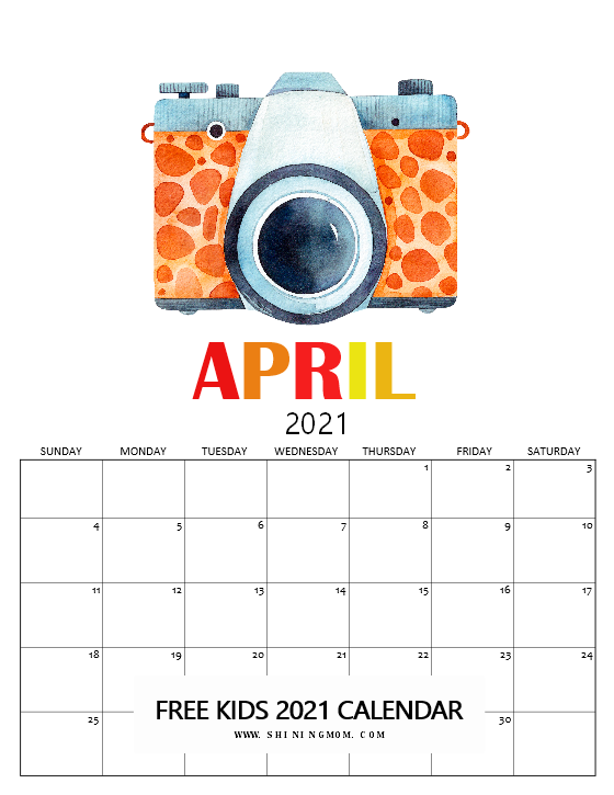 April calendar 2021 for kids