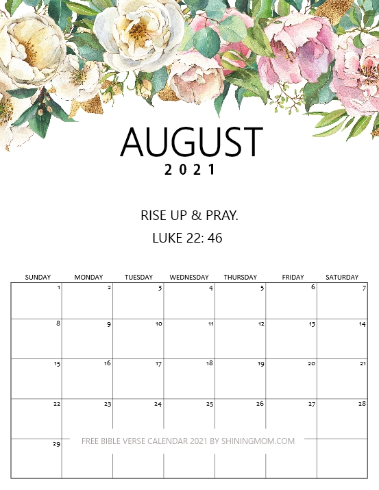 Free printable August 2021 calendar Bible verse