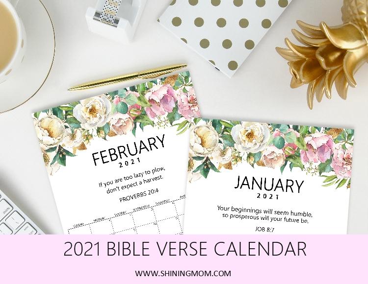 free printable Bible verse calendar 2021