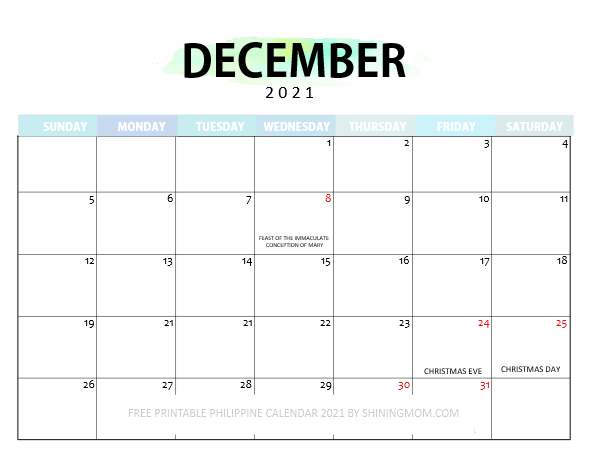 December 2021 calendar with holidays in Philippines
