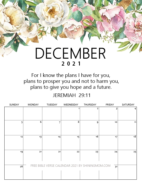 December 2021 calendar free printable floral