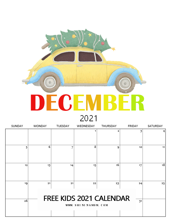 cute December 2021 calendar for kids