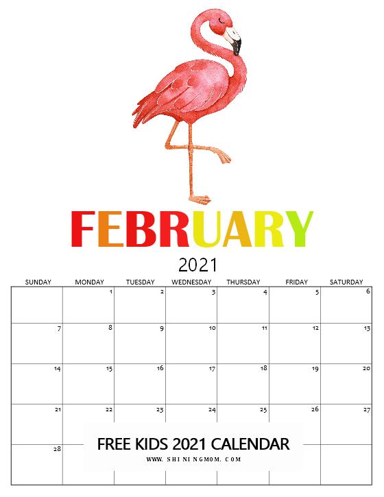 February Kids Calendar 2021