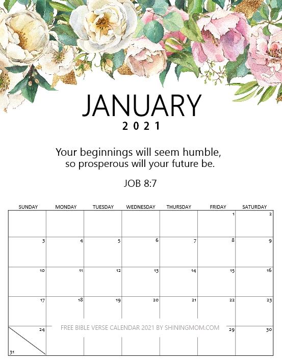 January calendar 2021 with Bible verse