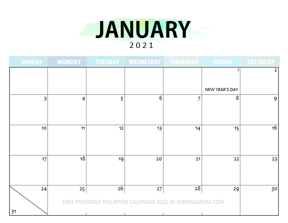 January Philippine calendar 2021 with holidays