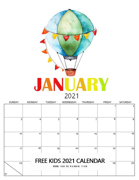 January Kids Calendar 2021