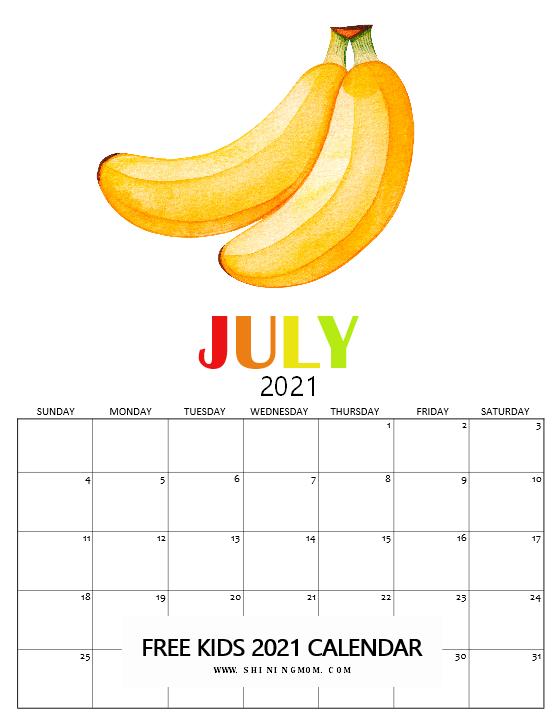 July 2021 calendar free printable