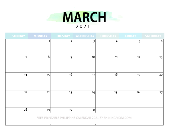 March Philippine calendar 2021