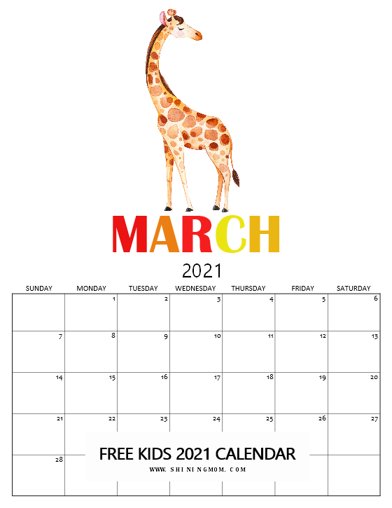 March calendar 2021 for kids