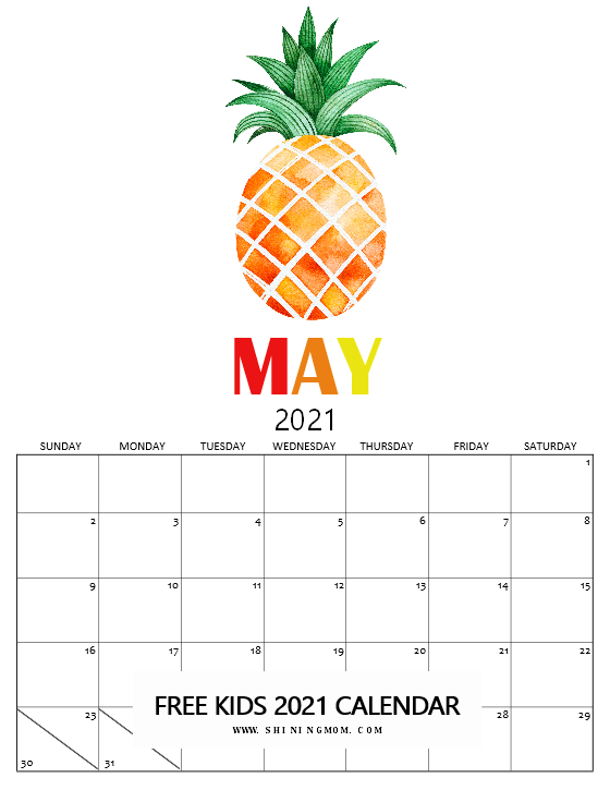 May calendar 2021 for kids