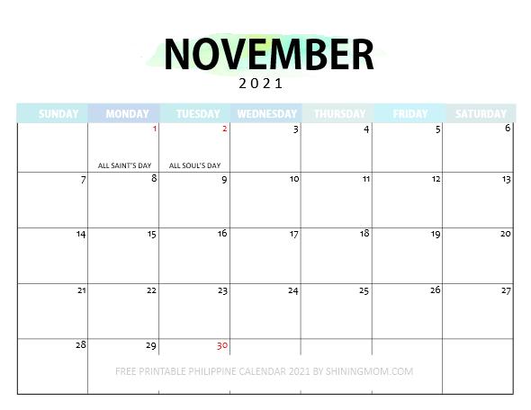 November Philippine calendar 2021