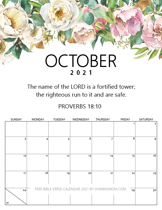 October 2021 calendar with Bible verse