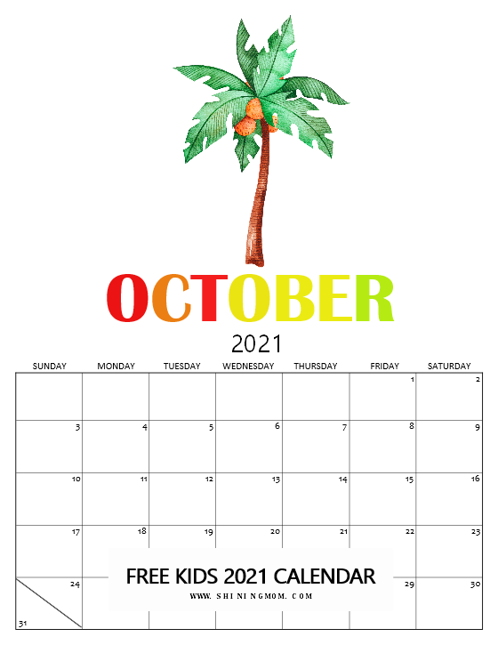 cute October 2021 calendar for kids