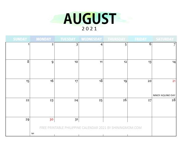 August Philippine calendar 2021