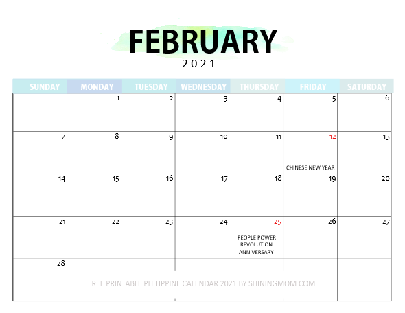 February 2021 calendar Philippines with holidays
