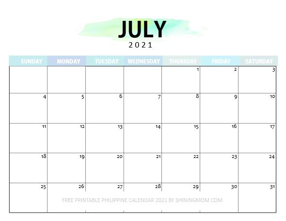 July Philippine calendar 2021