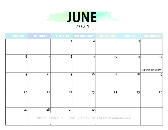 June calendar 2021 with Philippine holidays