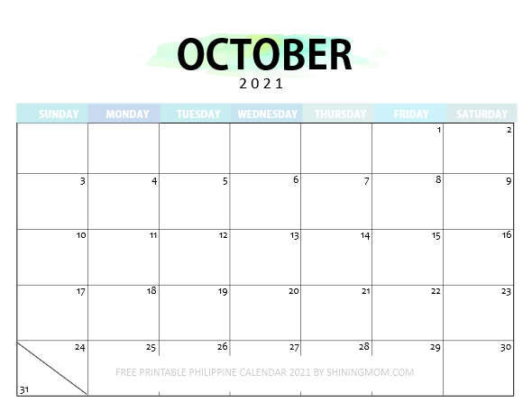 October Philippine calendar 2021