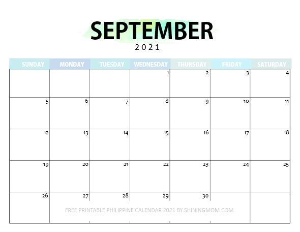 September Philippine calendar 2021